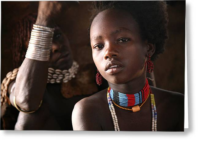Ethiopia Greeting Cards - Ethiopian Hamer girl Greeting Card by Marcus Best