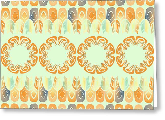 Ethnic Orange Pattern Greeting Card by Gaspar Avila