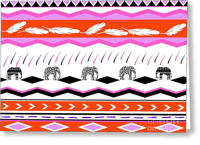 Home Decor Posters Mixed Media Greeting Cards - Ethnic Tribal Elephant Print Greeting Card by ArtyZen Studios - ArtyZen Home