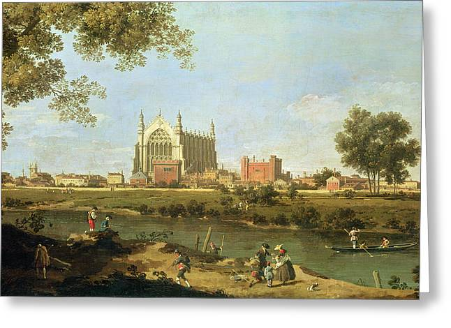 Punting Greeting Cards - Eton College Greeting Card by Canaletto