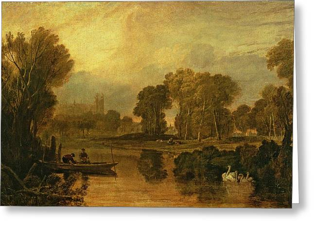 Punting Greeting Cards - Eton College from the River Greeting Card by Joseph Mallord William Turner