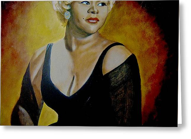 Biracial Greeting Cards - Etta James Greeting Card by Chelle Brantley