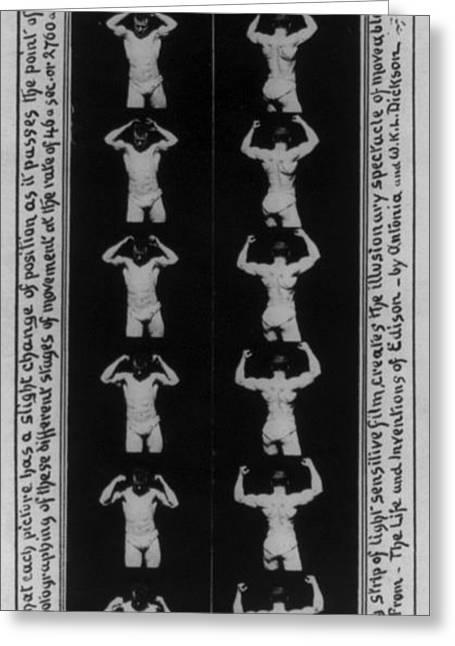 Edison Greeting Cards - Eugen Sandow, Edison Kinetoscope Strip Greeting Card by Science Source