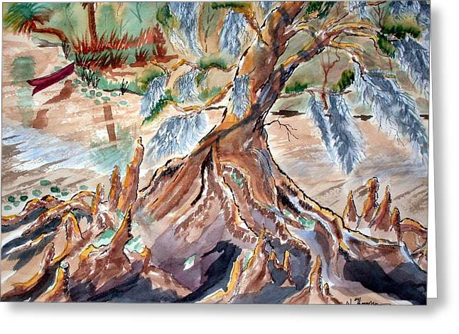 Tree Roots Paintings Greeting Cards - Eureka River Roots Greeting Card by Warren Thompson