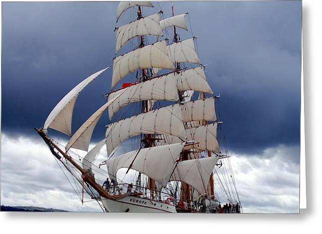 Tall Ship Greeting Cards - Europa Greeting Card by John Hughes