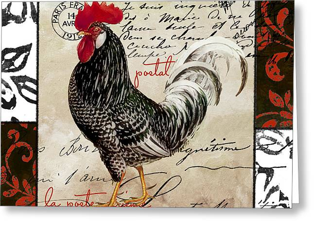 Rooster Greeting Cards - Europa Rooster III Greeting Card by Mindy Sommers