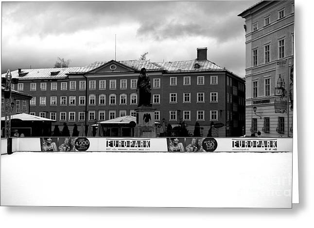 Ice-skating Greeting Cards - Europark 2014 mono Greeting Card by John Rizzuto