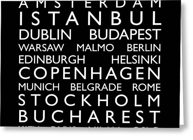 Europe Cities Bus Roll Greeting Card by Michael Tompsett