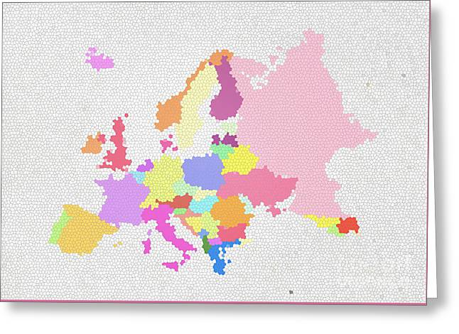 Czech Republic Digital Greeting Cards - Europe map on stained glass Greeting Card by Setsiri Silapasuwanchai