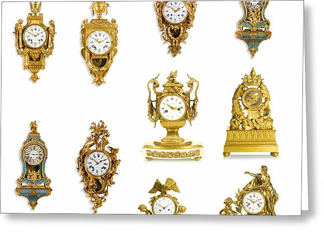 Xvi Greeting Cards - European Art European Clocks - Louis XV and XVI Clocks Greeting Card by Celestial Images
