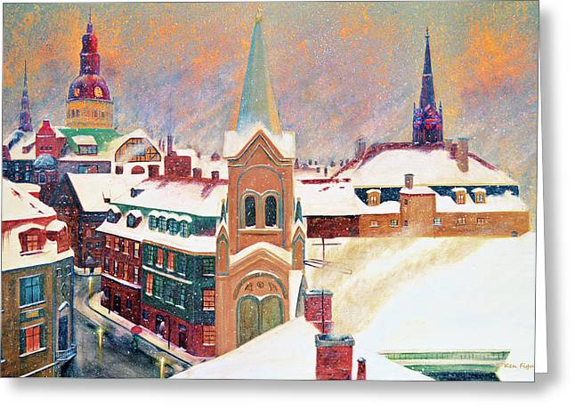 Snowy Night Night Greeting Cards - European Color Burst Greeting Card by Ken Figurski