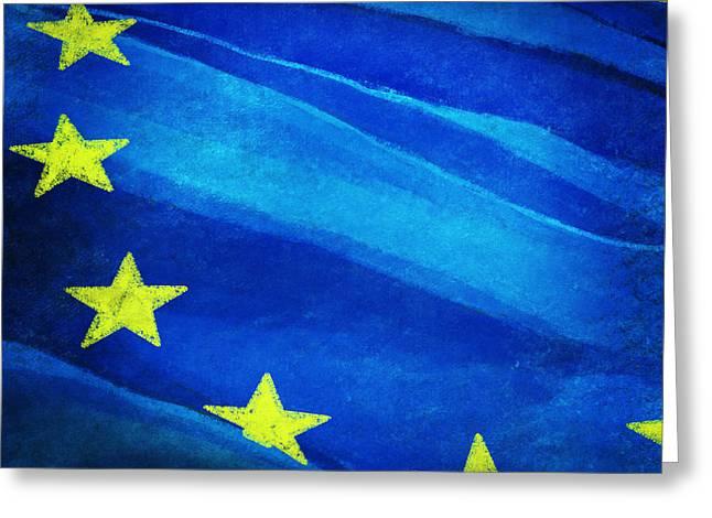 Torn Digital Greeting Cards - European flag Greeting Card by Setsiri Silapasuwanchai