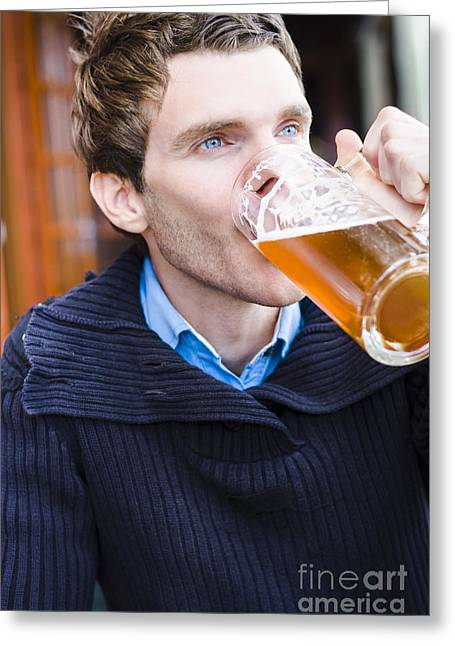 Men Drinking Greeting Cards - European man enjoying a cold beer at a German pub Greeting Card by Ryan Jorgensen