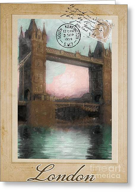 Vintage Eiffel Tower Greeting Cards - European Vacation Postcard London Greeting Card by Mindy Sommers
