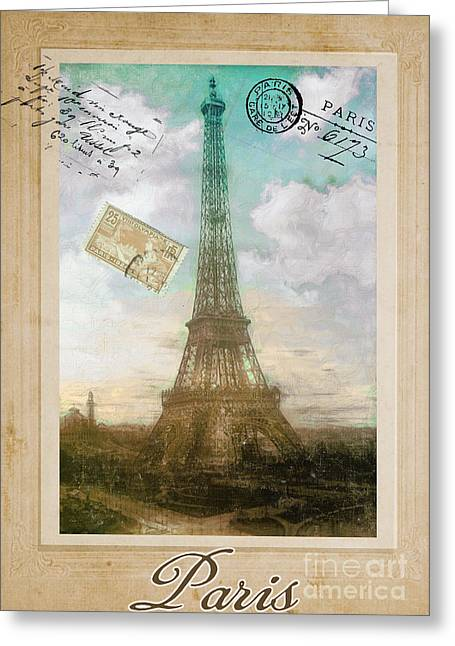 Vintage Eiffel Tower Greeting Cards - European Vacation Postcard Paris Greeting Card by Mindy Sommers
