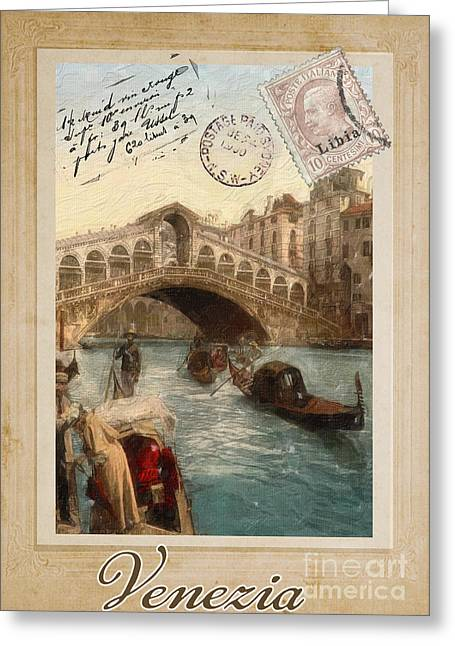Rialto Bridge Greeting Cards - European Vacation Postcard Venice Greeting Card by Mindy Sommers