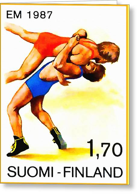 European Wrestling Championships Greeting Card by Lanjee Chee