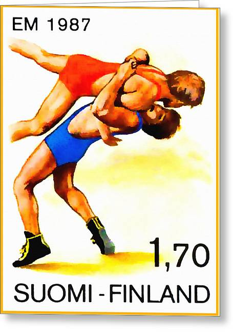 1987 Paintings Greeting Cards - European Wrestling Championships Greeting Card by Lanjee Chee