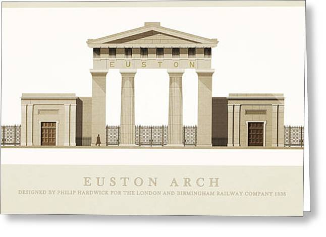 Historic Architecture Drawings Greeting Cards - Euston Arch London Greeting Card by Justin Fagence