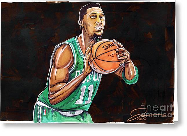 Boston Celtics Drawings Greeting Cards - Evan Turner Greeting Card by Dave Olsen
