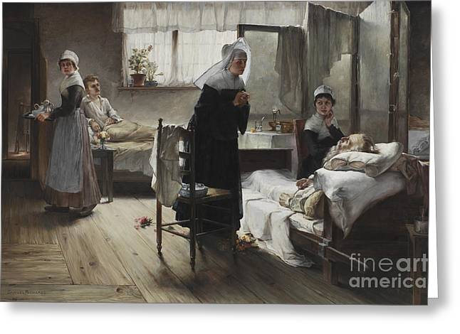 Evangeline Discovering Her Affianced In The Hospital Greeting Card by Samuel Richards