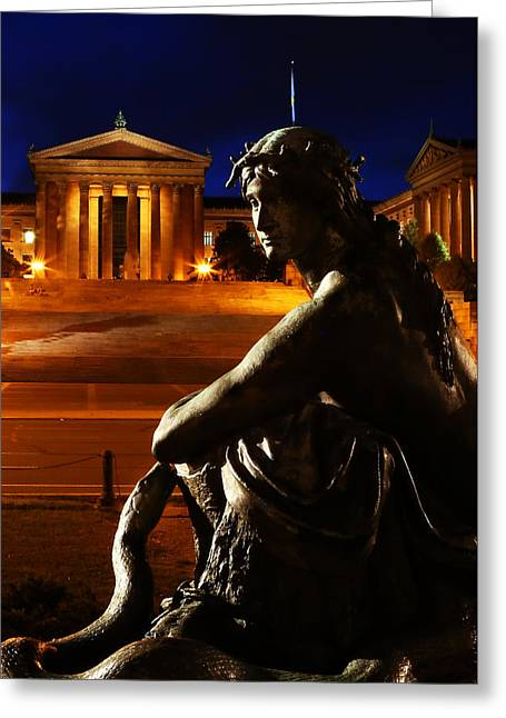 Phillies History Greeting Cards - Eve in the Garden of Art - Philadelphia Museum of Art - Washington Memorial Fountain  Greeting Card by Lee Dos Santos