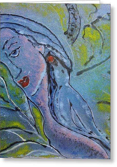 With Glass Art Greeting Cards - Eve Reconsiders Greeting Card by Deborah Johnson