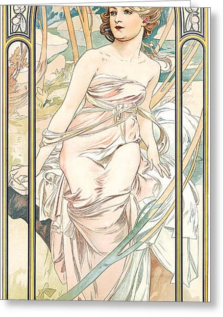 Border Greeting Cards - Eveil Du Matin Greeting Card by Alphonse Marie Mucha