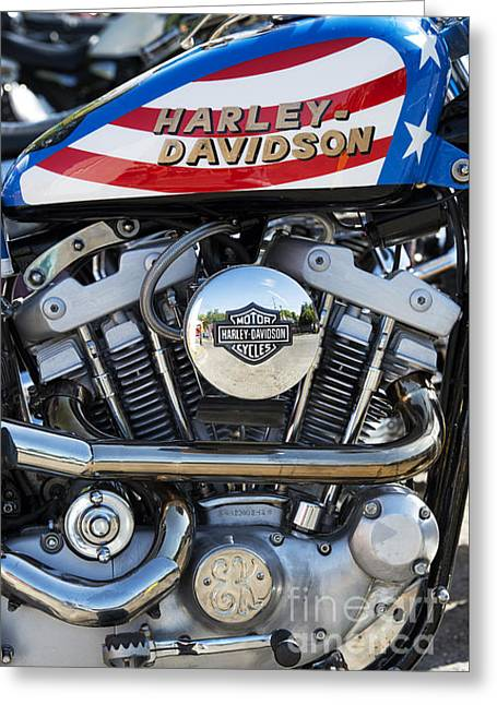 V Twin Greeting Cards - Evel Harley Davidson Greeting Card by Tim Gainey