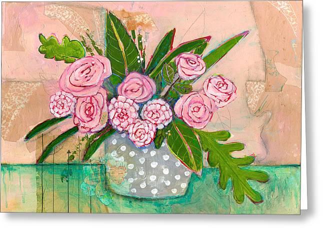 Evelyn Rose Flowers Greeting Card by Blenda Studio