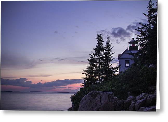 Clam Chowder Greeting Cards - Evening At Bass Harbor Lighthouse Greeting Card by Steven Bateson