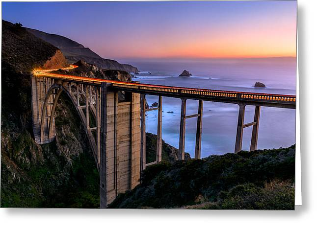Big Sur Ca Greeting Cards - Evening At Bixby - Big Sur CA Greeting Card by Michael Brandt