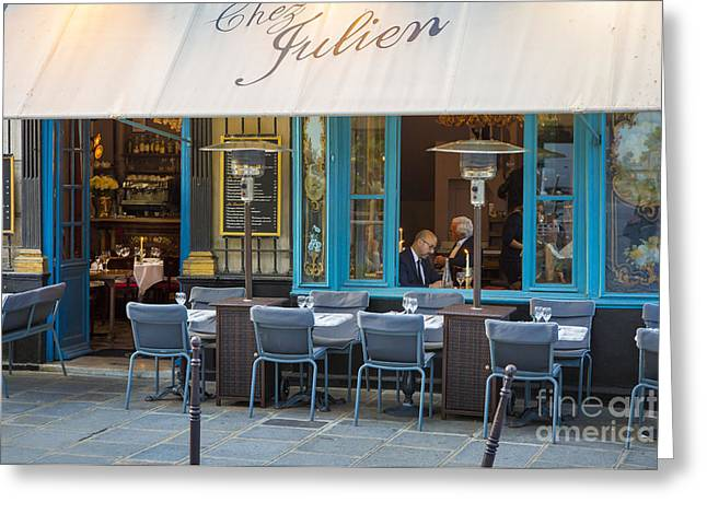 Menu Greeting Cards - Evening at Chez Julien Greeting Card by Brian Jannsen