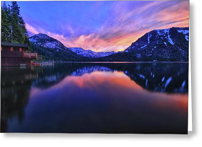 Evening at Fallen Leaf Lake Greeting Card by Jacek Joniec