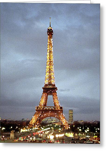 Evening At The Eiffel Tower Greeting Card by Mike McGlothlen