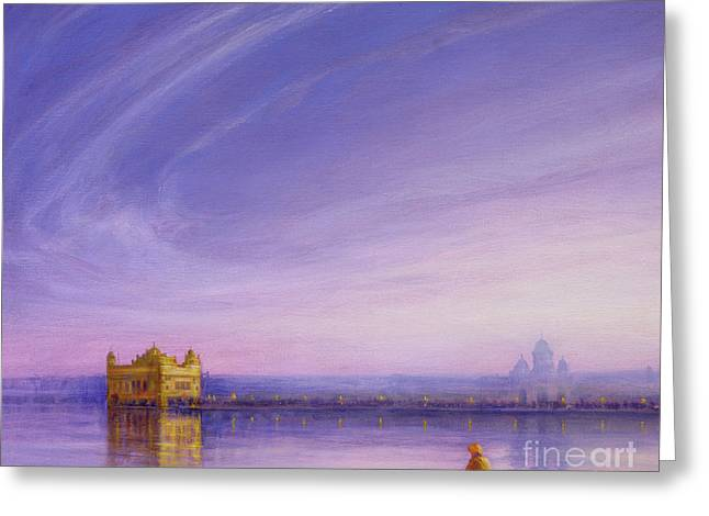 Evening At The Golden Temple, Amritsar Greeting Card by Derek Hare