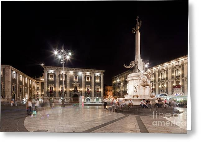 Sicily Greeting Cards - Evening atmosphere at the Piazza Duomo in Catania Sicily Greeting Card by Wolfgang Steiner