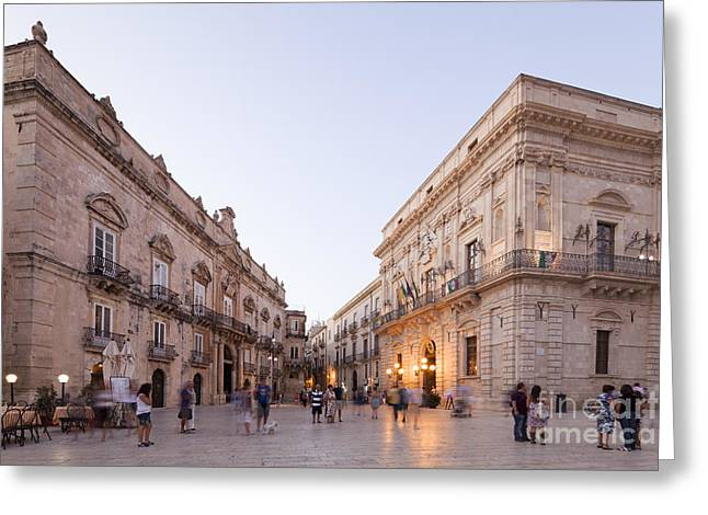Sicily Greeting Cards - Evening atmosphere at the Piazza Duomo of Siracusa Greeting Card by Wolfgang Steiner