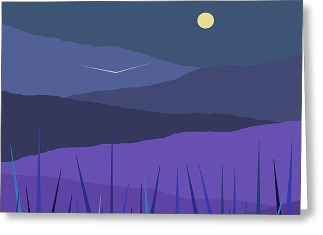 Soft Colour Greeting Cards - Evening Blue Moonshine Greeting Card by Val Arie