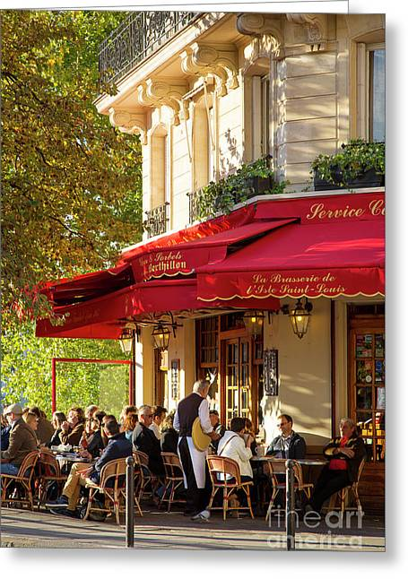 Evening Cafe - Paris Greeting Card by Brian Jannsen