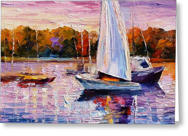 Popular Art Greeting Cards - Evening Calm - PALETTE KNIFE Oil Painting On Canvas By Leonid Afremov Greeting Card by Leonid Afremov