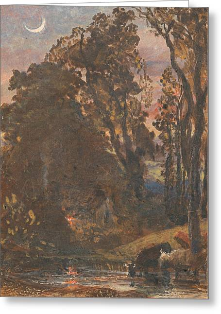 Evening, Cattle Watering Greeting Card by Samuel Palmer