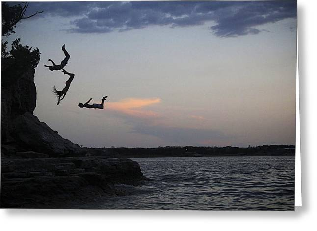 Evening Cliff Jump Greeting Card by Emily Olson