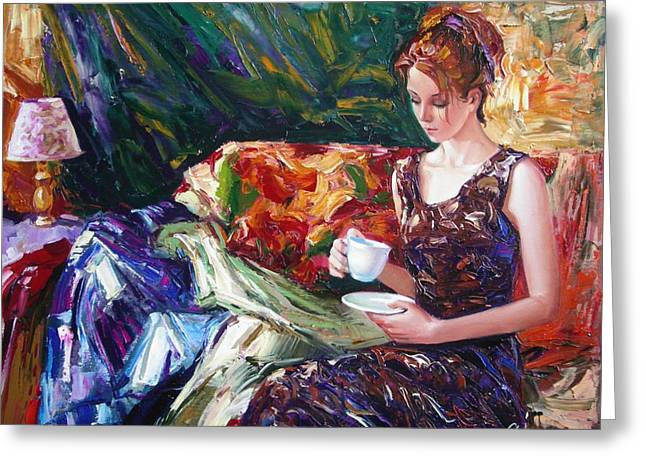 Sergey Ignatenko Greeting Cards - Evening coffee Greeting Card by Sergey Ignatenko