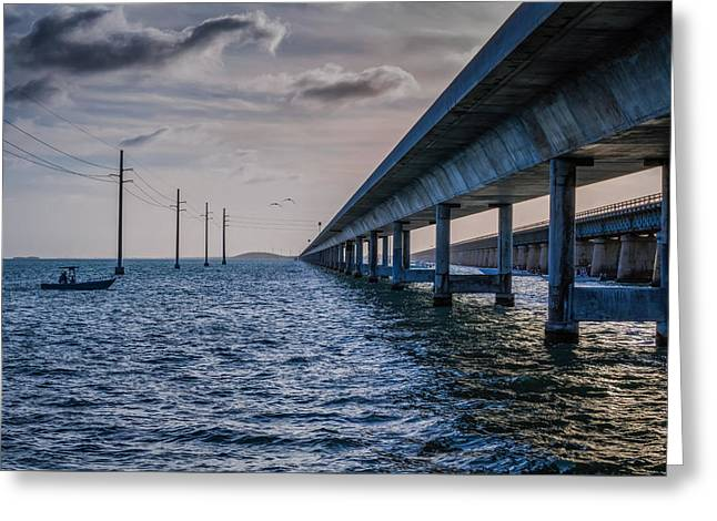 Fishing Boats Greeting Cards - Evening Fishing at the Seven Mile Bridge Greeting Card by John Bailey
