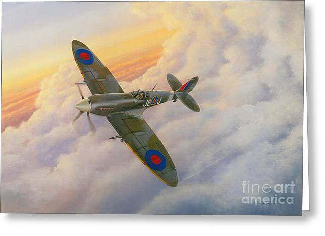 Supermarine Greeting Cards - Evening Flight Greeting Card by Michael Swanson