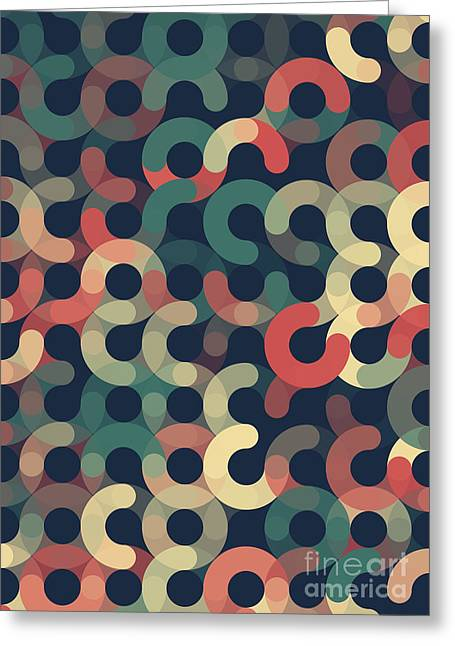 Geometric Image Greeting Cards - Evening Geometric Circle Pattern Greeting Card by Frank Ramspott