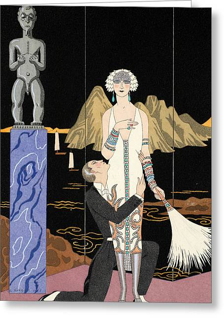 Beaux-arts Greeting Cards - Evening Greeting Card by Georges Barbier