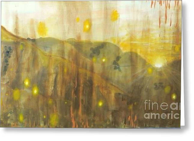 Warm Tones Greeting Cards - Evening Glimmer  Greeting Card by Lauren Caster