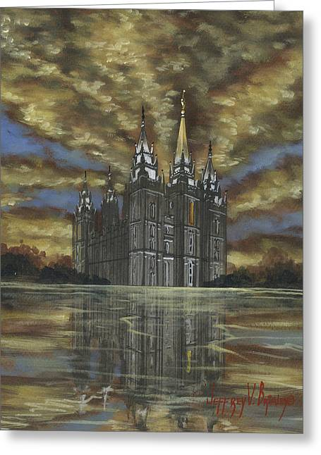 Salt Lake Temple Greeting Cards - Evening Glory Greeting Card by Jeff Brimley